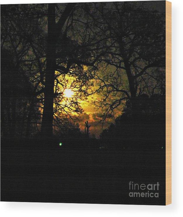 Moon Wood Print featuring the photograph Dark Heart Moon by Tisha Clinkenbeard