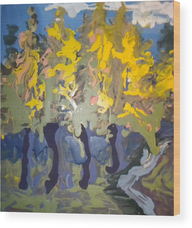 Alzheimer's Wood Print featuring the painting Autumn In Montreal By David by Art Without Boundaries