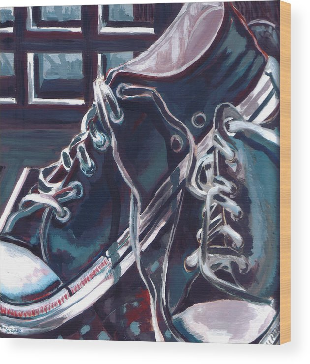 878be91ed1 Shoes Wood Print featuring the painting Broken-in Converse by Shawna Rowe