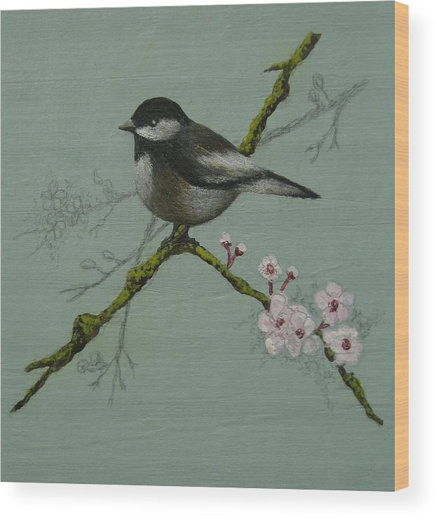 Miniature Wood Print featuring the painting Chickadee by Victoria Heryet