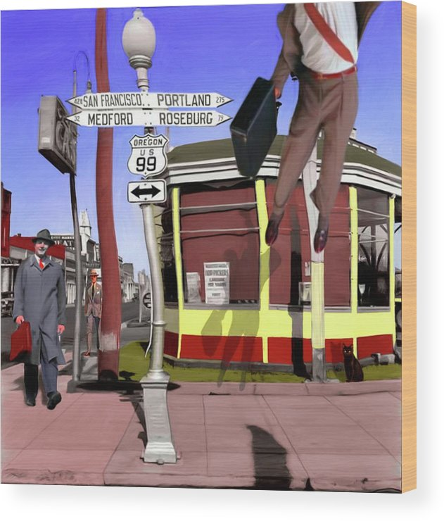 City Wood Print featuring the digital art Off To Work by Snake Jagger