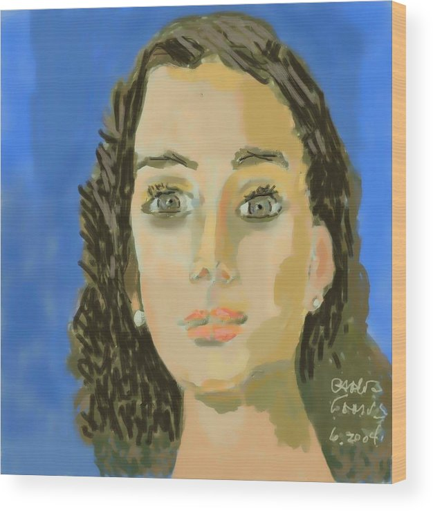 Paint Wood Print featuring the painting Retrato De Mi Hija M. Jose by Carlos Camus