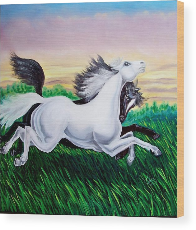 Horses Wood Print featuring the painting Running Free by Kathern Welsh