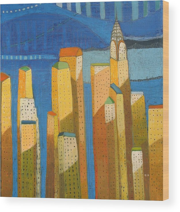 Abstract Cityscape Wood Print featuring the painting Standing High by Habib Ayat