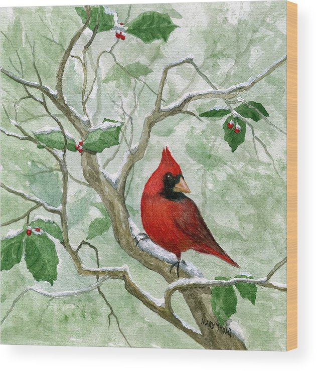 Cardinal Wood Print featuring the painting The Cardinal by Mary Tuomi
