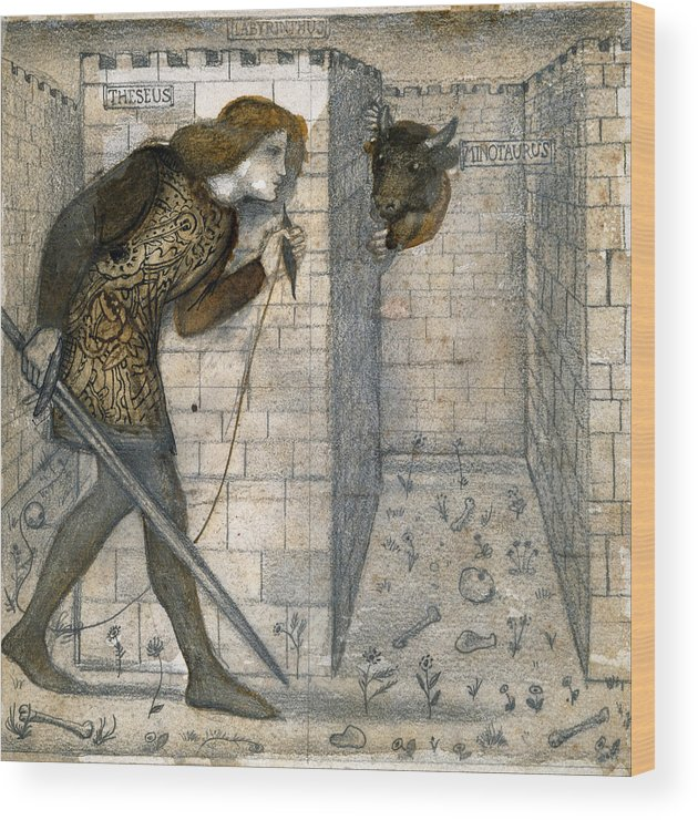 Edward Burne-jones Wood Print featuring the drawing Theseus And The Minotaur In The Labyrinth by Edward Burne-Jones