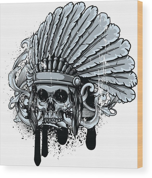 Skull Wood Print featuring the digital art Chebeya Skull With Headdress by Passion Loft