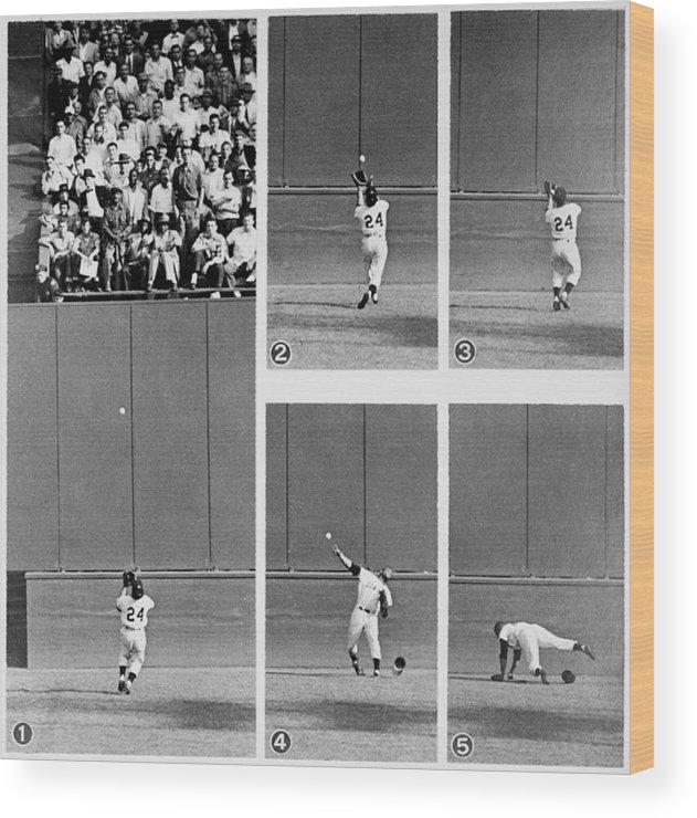 1950-1959 Wood Print featuring the photograph Photo Sequence Willie Mays Makes His by New York Daily News Archive