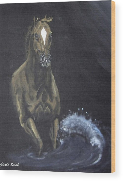 Horse Wood Print featuring the painting Surf Runner by Glenda Smith