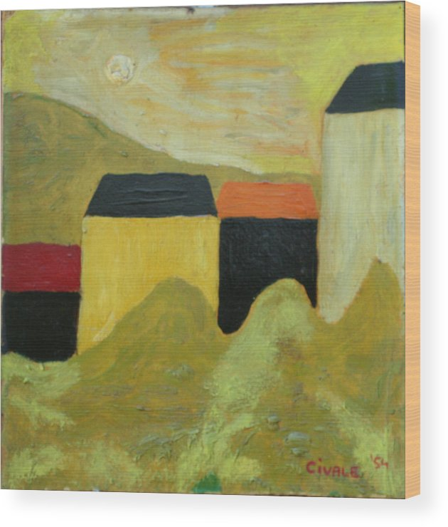 Wood Print featuring the painting Sunny Landscape by Biagio Civale