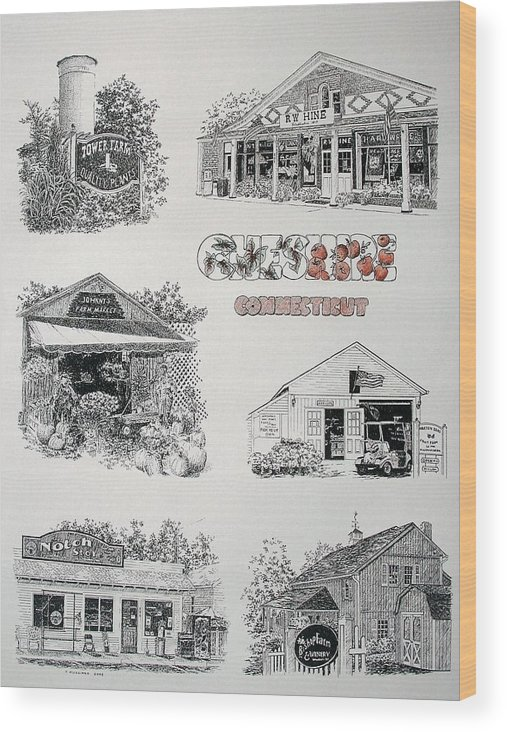 Connecticut Chechire Ct Architecture Buildings New England Wood Print featuring the painting Cheshire Landmarks by Tony Ruggiero