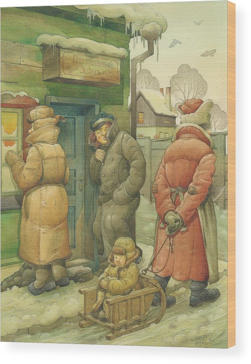 Russian Winter Wood Print featuring the painting Russian Scene 07 by Kestutis Kasparavicius