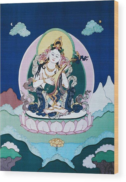Saraswati Wood Print featuring the tapestry - textile Saraswati by Leslie Rinchen-Wongmo