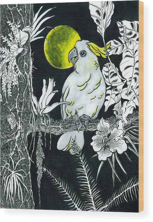 Wildlife Wood Print featuring the drawing Yellow Moon by Richard Brooks
