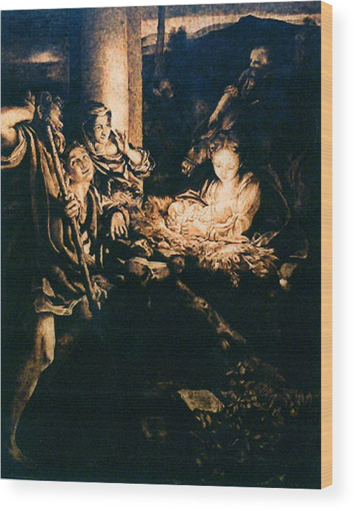 Dino Muradian Wood Print featuring the pyrography Adoration Of The Shepherds by Dino Muradian