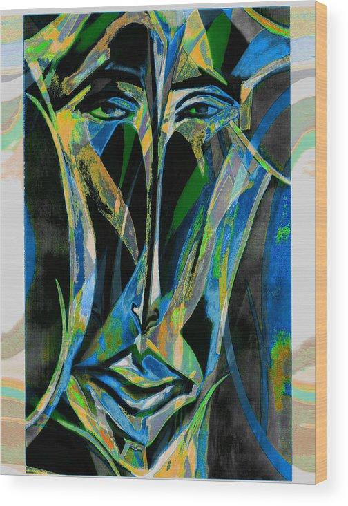 Mask Wood Print featuring the mixed media Akhnaton by Noredin Morgan