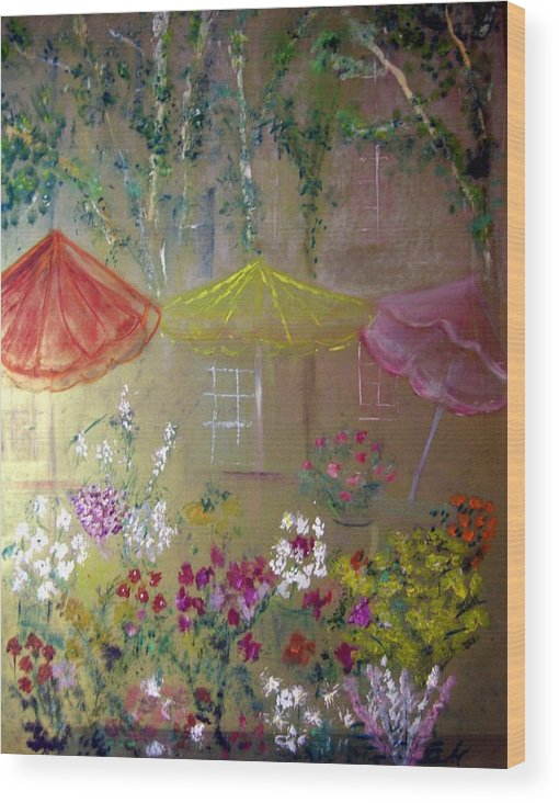 Flowers Wood Print featuring the painting Antoinette's Flowers by Michela Akers