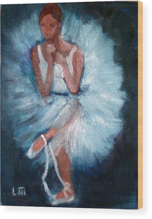 Classical Dance Wood Print featuring the painting Ballerina 2 by Lia Marsman