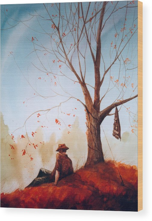 Fisherman Wood Print featuring the painting Break Time by Sean Seal