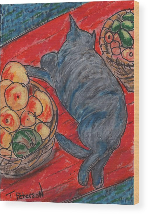 Cat Wood Print featuring the painting Cat Nap by Todd Peterson