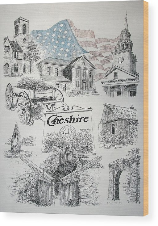 Connecticut Cheshire Ct Historical Poster Architecture Buildings New England Wood Print featuring the drawing Cheshire Historical by Tony Ruggiero