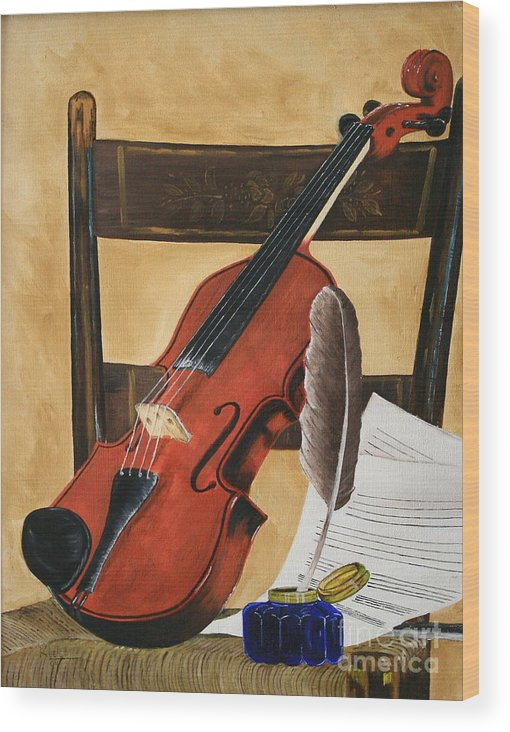 Still Life Wood Print featuring the painting Composition Time by Christopher Keeler Doolin