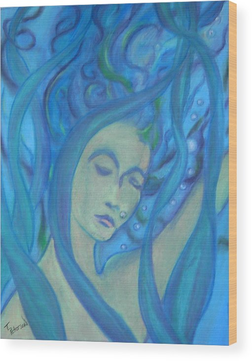 Crayon Wood Print featuring the painting Even Mermaids Get The Blues by Todd Peterson