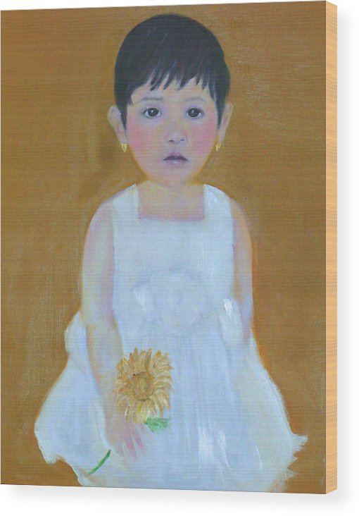 Child Wood Print featuring the painting La Senorita And The Sunflower by Michela Akers