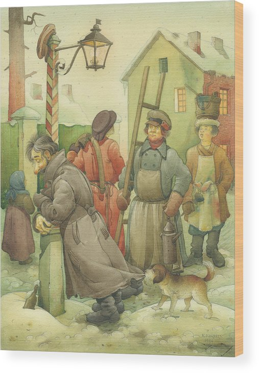 Russian Winter Wood Print featuring the painting Russian Scene 06 by Kestutis Kasparavicius