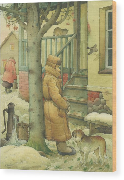 Russian Winter Wood Print featuring the painting Russian Scene 10 by Kestutis Kasparavicius