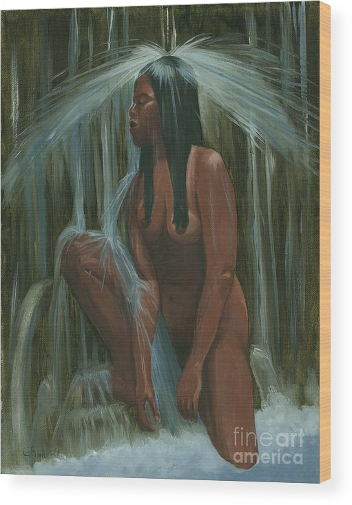 Western Wood Print featuring the painting Sacagawea In The Water Cave by Gail Finn