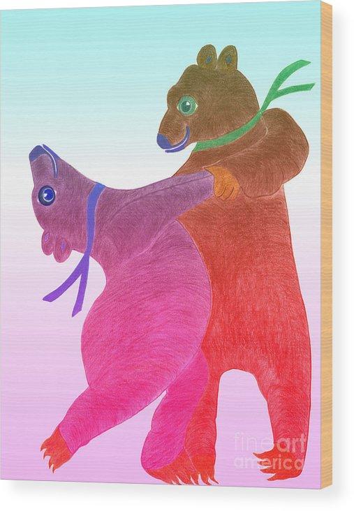 Bears Wood Print featuring the painting Tango Bears by Tess M J Iroldi