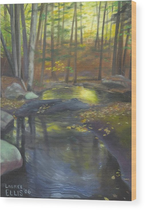 Landscape Wood Print featuring the painting The Wading Pool by Laurel Ellis