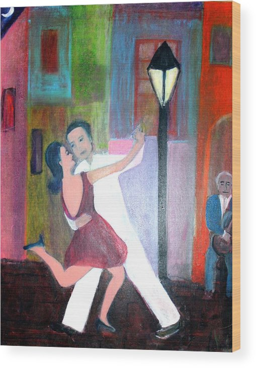 Urban Landscape Wood Print featuring the painting Veux Tu Tango by Michela Akers