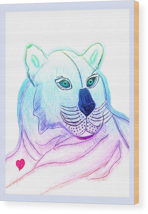 Wild Cat Wood Print featuring the painting Zamir by Tess M J Iroldi