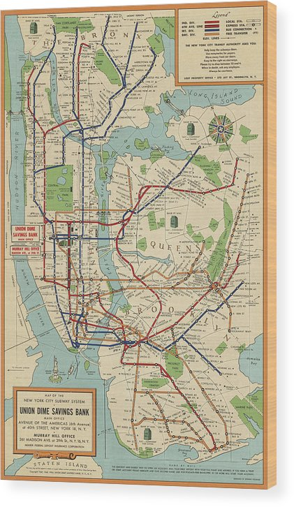 New York Subway Map To Print.Old New York City Subway Map By Stephen Voorhies 1954 Wood Print