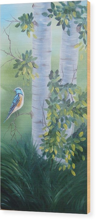 Birds Wood Print featuring the painting Blue Bird In A Birch by Tina Brown