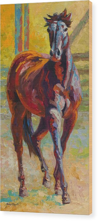 Horses Wood Print featuring the painting Corral Boss - Mustang by Marion Rose