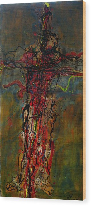 Cross Wood Print featuring the painting Crucified by Paul Freidin