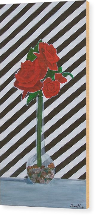 Flowers Wood Print featuring the painting Four Roses by Marcia Paige