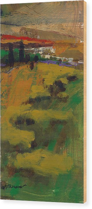Sunset Wood Print featuring the painting Hillside by Dale Witherow