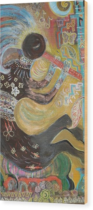 Kokopelli Wood Print featuring the mixed media Kokopelli Playing His Flute by Anne-Elizabeth Whiteway