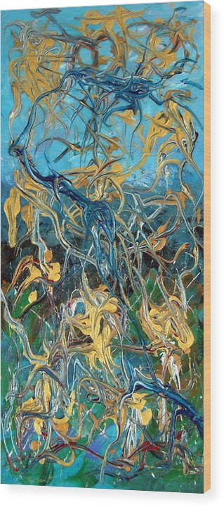Acrylic Blue Green Gold Silver Energetic Lively Land Wood Print featuring the mixed media Our Land My Taonga by Sher Green