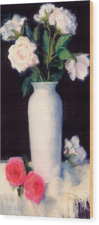 Still Life Wood Print featuring the painting Simple Elegance by Bunny Oliver