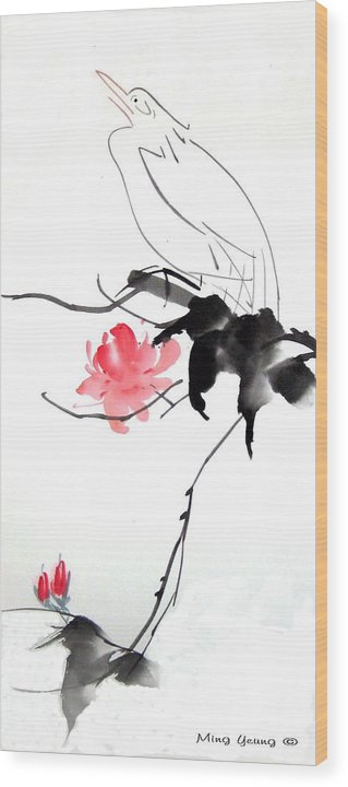 Chinese Painting Wood Print featuring the painting Spring Breeze by Ming Yeung