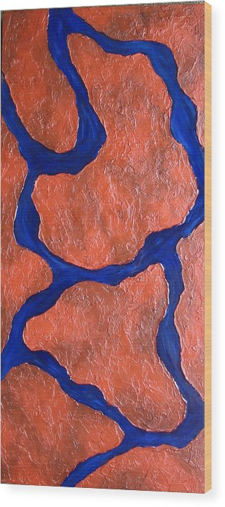 Mixed Media Wood Print featuring the painting Stone Edge Iv by Sophia Elise
