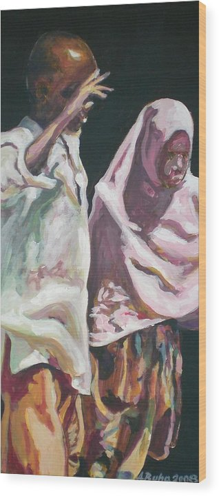 Africa Wood Print featuring the painting Two Children by Aleksandra Buha
