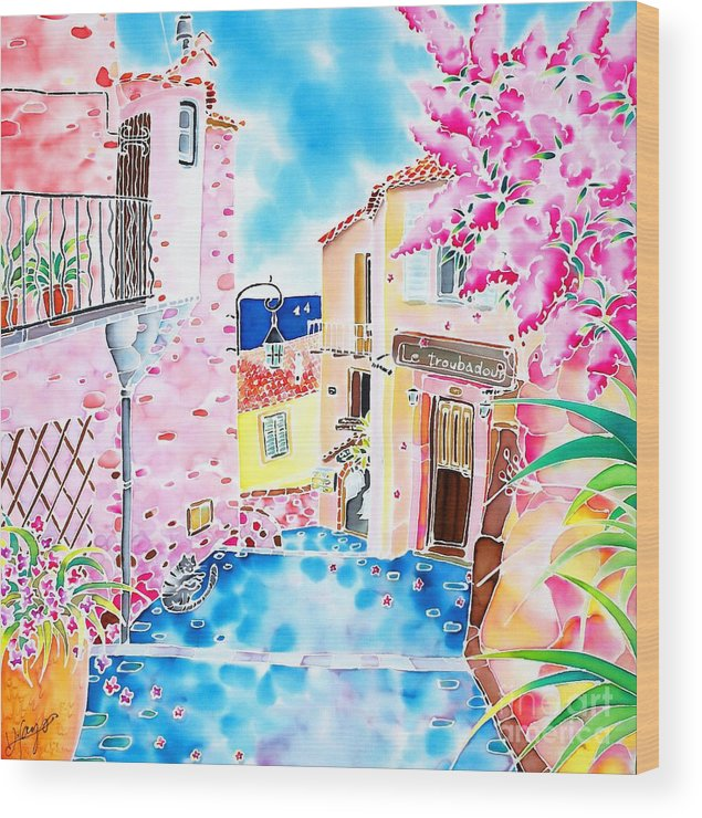 France Wood Print featuring the painting Mediterranean Wind by Hisayo Ohta