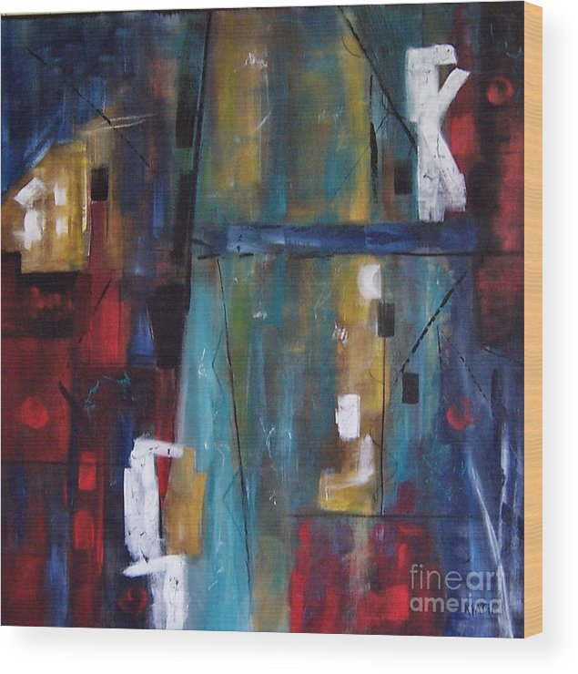 Paintings Wood Print featuring the painting Hi Rise by Karen Day-Vath