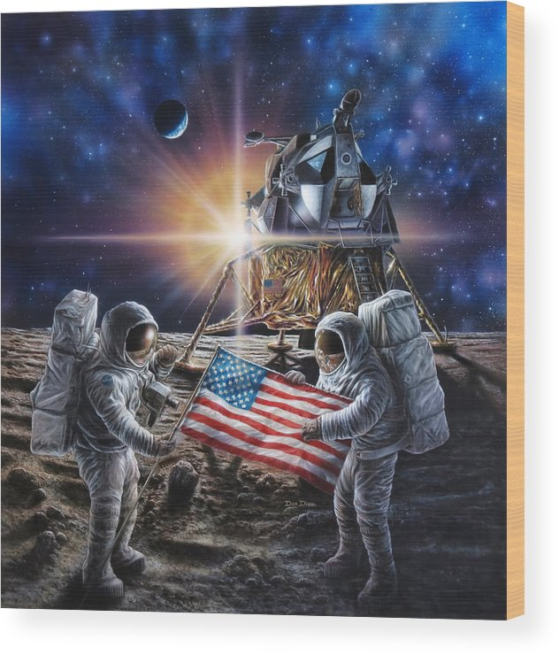 Space Wood Print featuring the painting Apollo 11 by Don Dixon